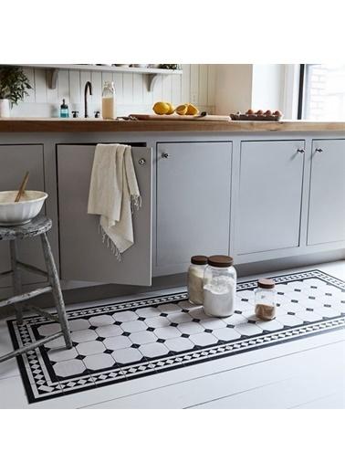 MarkaEv Siyah Beyaz Mermer Kitchen 101 Mutfak Halısı 133*190cm Renkli